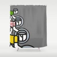 tour de france Shower Curtains featuring Peloton Tour De France by sonsofwolves