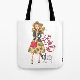 Girl with Bulldog Tote Bag