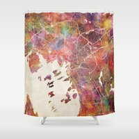 oslo Shower Curtains featuring Oslo by MapMapMaps.Watercolors