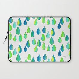 Cherish All of Your Tears blue green pattern tears illustration watercolor inspirational words Laptop Sleeve