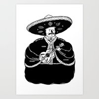 fat Art Prints featuring The Fat Mariachi by David Penela