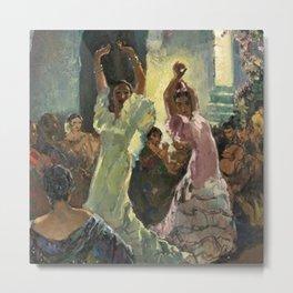 'Scène de Flamenco à Seville' by Jose Herrerilla Cruz Metal Print