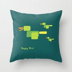 Happy Bird-Green Throw Pillow