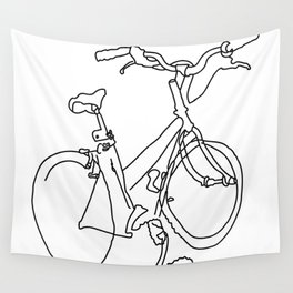 Blind Contour Bicycle Wall Tapestry