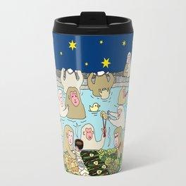 Snow Monkeys in Hot Spa Travel Mug