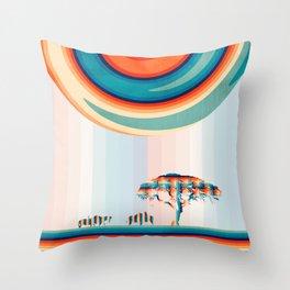 Retro Savannah Zebras Throw Pillow