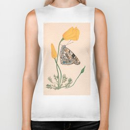 Painted Lady Butterfly Biker Tank