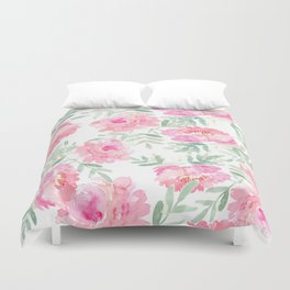 Watercolor Peonie with greenery Duvet Cover