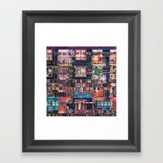 Colorful Buildings Collage Framed Art Print