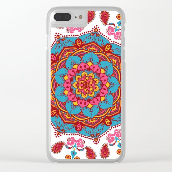 Colourful Indian Flower Patterned Mandala Red Pink & Blue Clear iPhone Case
