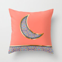 Patterned crescent on living coral pink Throw Pillow