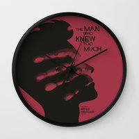 casablanca Wall Clocks featuring The Man who Knew Too Much - Alfred Hitchcock Movie Poster Minimal by Stefanoreves