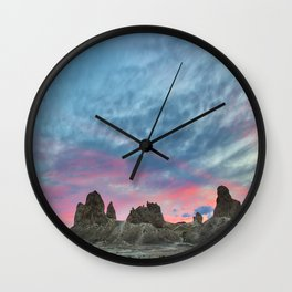 Pastel Rainbow Sunset : Tronna Pinnacles Wall Clock