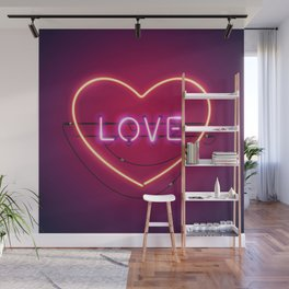Pink Love in the Heart Neon Sign Wall Mural