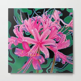 CORAL PINK LILY GARDEN FLOWERS PATTERN Metal Print