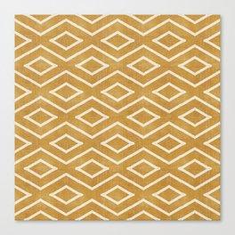 Stitch Diamond Tribal in Gold Canvas Print