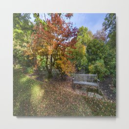 Autumn Bench Metal Print