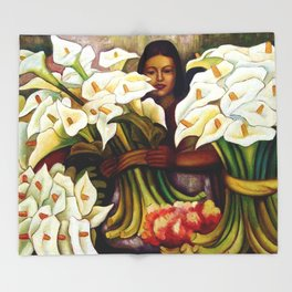 1938 Classical Masterpiece 'Alcatraces Flower Seller' by Diego Rivera Throw Blanket