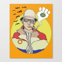 hunter s thompson Canvas Prints featuring Hunter S. Thompson by Jesse Kidd's Realm of Madness