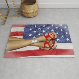 patriotic pin up Rug