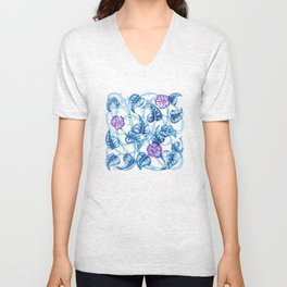 Ipomea Flower_ Morning Glory Floral Pattern Unisex V-Neck
