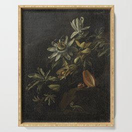 Still Life with Passionflowers - Elias van den Broeck (1670 - 1708) Serving Tray
