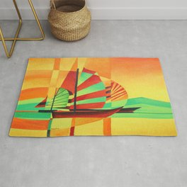 Chinese Junks Sail to Shore  Rug