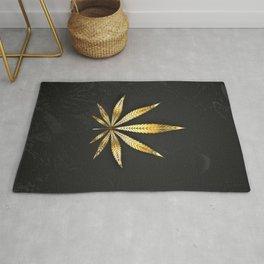 Gold Leaf Cannabis Rug