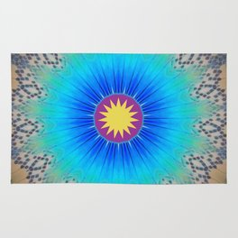 Textured Electric Blues Mandala with Yellow Accent Rug