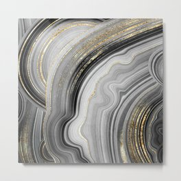 Gold Accented Black-White Marble Agate Geode Crystal Metal Print