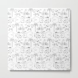 Hipster Lifestyle Icons Pattern Metal Print
