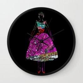 Audrey Pink Glitter Dress Wall Clock