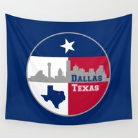 dallas Wall Tapestries featuring Dallas Texas Skyline by Bruce Stanfield