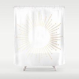 Sunburst Gold Copper Bronze on White Shower Curtain
