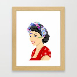 Beautiful woman with wreath Framed Art Print