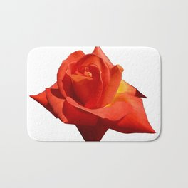 Beautiful Red Rose Isolated On White Bath Mat