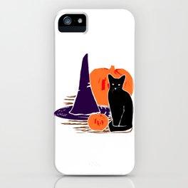 Witch Cat Pumpkin Woodcut Halloween Design iPhone Case