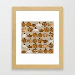 Pumpkin Party in Almond Framed Art Print