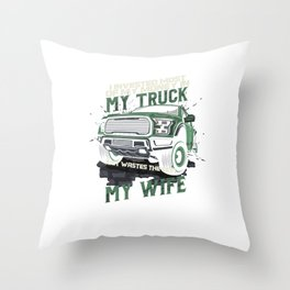 My Truck My Wife Dirt Track Racing Racer Auto Racing Race Cars Gifts Throw Pillow