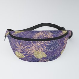 Tropical Leaves with Gold Monstera (Ultra Violet) Fanny Pack