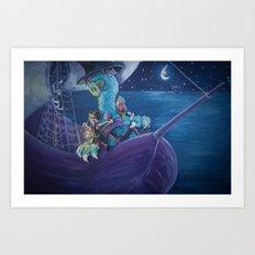 A Night Sail Art Print