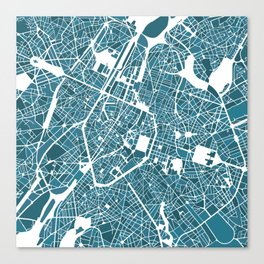 Brussels City Map I Canvas Print