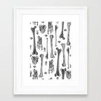 bones Framed Art Prints featuring Bones by Deborah Panesar Illustration