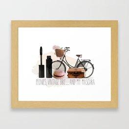 Bike and Peonies Framed Art Print