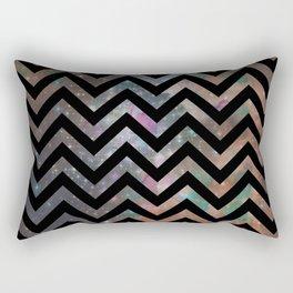 Abstract black pink teal watercolor nebula chevron Rectangular Pillow