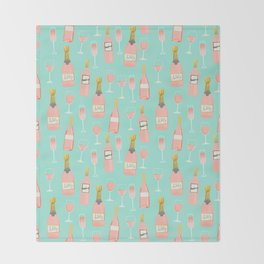 Rose champagne wine food fight apparel and gifts Throw Blanket