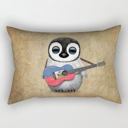 Baby Penguin Playing Haitian Flag Acoustic Guitar Rectangular Pillow