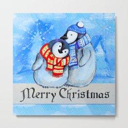 Merry Christmas Penguins Metal Print