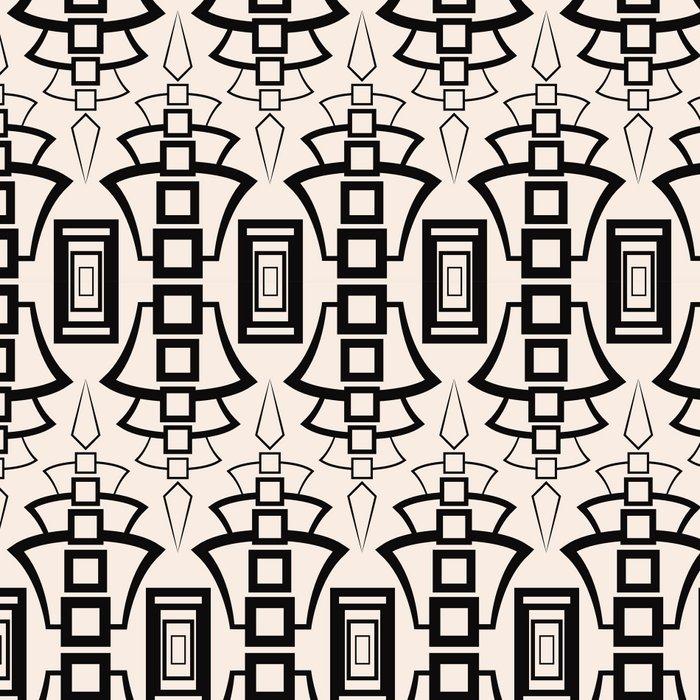 Art Deco 12 . Black and beige pattern . Leggings