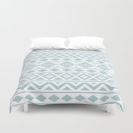 Aztec Essence Ptn III Duck Egg Blue on White Duvet Cover